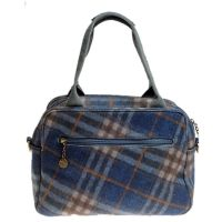 House of Tweed Tote Bag Handbag in Blue Check